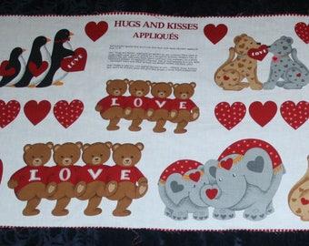 Hugs & Kisses Applique a  VIP Print, Cranston Printworks Fabric Panel