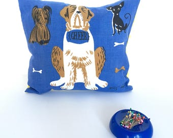 retro vintage dog fabric pillow, vintage dog gifts for owners, vintage dog house decor, cottage chic room decor pillow, INSERT INCLUDED