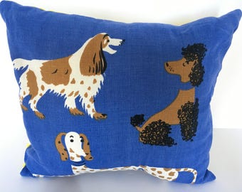 vintage dog pillow with insert, lake house decor home, pillows handmade farmhouse entry bench, mid century modern pillow, INSERT INCLUDED