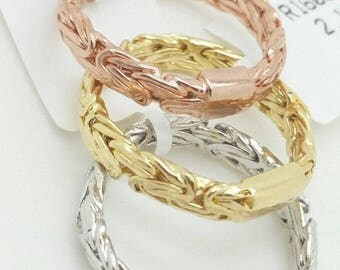 14k Yellow White or Rose Gold Byzantine Band Ring Size 7