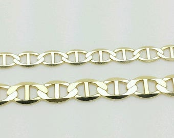 "14k Solid Yellow Gold Mariner Anchor Chain Bracelet 7""-8.5"""