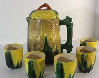 Vintage corn Pitchers & and 5 cups Post War in Japan