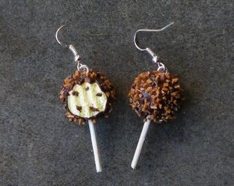 Lollipop bitten Fimo #2 925 Sterling Silver Earring
