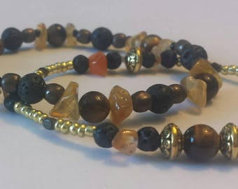 One of a kind bracelet~ warm amber tone natural agate, lava stones, with tiger's eye beads