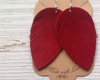 Red Suede Feather Earrings, Red Suede, Genuine Suede, Statement Earrings, Boho