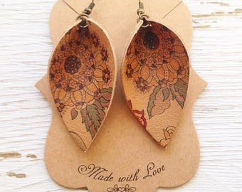 Tan Floral Leather Petal, Floral Leather, Petal Earring, Statement Earring, Boho