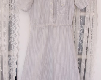1974 Worker's Union Dress - Pinstripe Vintage Lace Collar