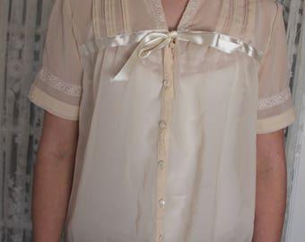 1960s/70s Chiffon Button up Night Shirt-Beautiful Vintage Tie