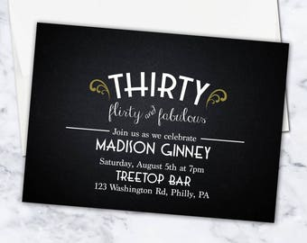 Thirty, Flirty, & Fabulous Birthday Invitation, 5x7, Digital Download