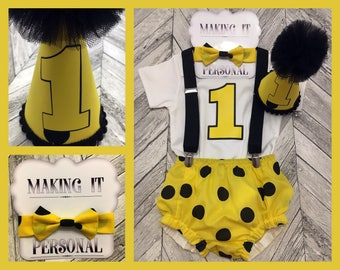 Boys 1st Birthday Cake Smash Outfit Yellow With Black Spots Party Hat Nappy Pants Braces Bow Tie Bodysuit Vest Vinyl 1 READY 2 POST!!