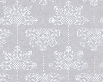 Oilcloth in pastel grey coated cotton Japanese pattern of white lotus flower ecru for making tablecloths