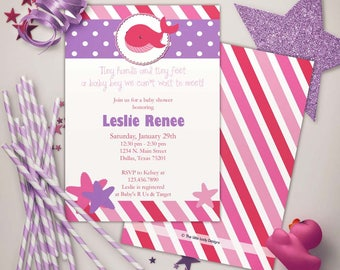 Under the Sea Whale Baby Shower Pinks Invitation