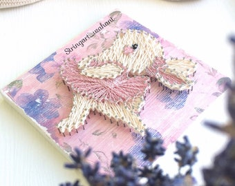 Baby ballerina String Art, Easter Bunny rustic nursery decor, baby shower gift, easter wood for home decor, gift, animal nursery,baby bunny