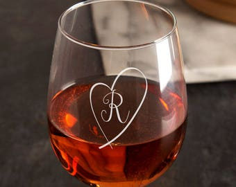 Personalised Initial His and Hers Wine Glass Set - Personalised Wine Glasses, Personalised Wedding Gift, Gifts for Couple, Gifts for Him/Her