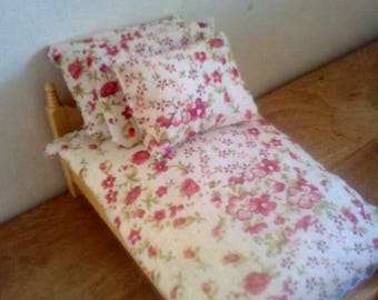 Dolls bedding set for 1/12 scale single bed