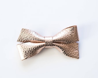 Leather Rose Gold Double-Loop Bow