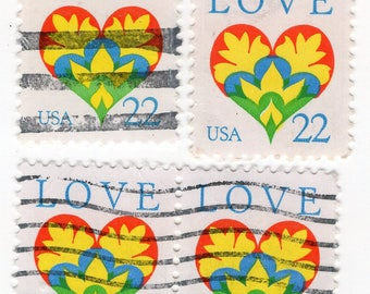 Heart Love Stamps - Used - Off Paper - 4 Stamps - 1987 - Scott 2248