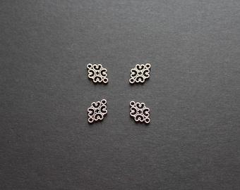4 antique silver ethnic arabesque connectors