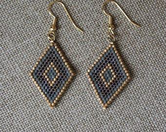 Miyuki glass beads earrings, shades gold grey and purple