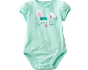 Green with rabbit bodysuit