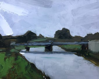 River Taw, painting. Oil on board