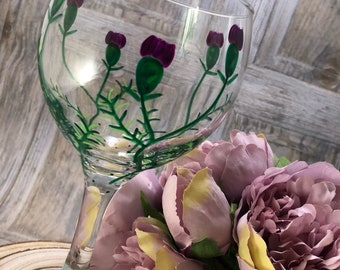 Large Gin Glass. Unique 'Thistles' hand painted and dishwasher safe beautiful Glasses. 645ml