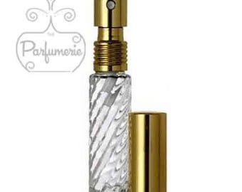 Set of 5: 1/3 oz. Glass SWIRL Atomizer Refillable Purse & Travel Size GOLD METALLIC Top Fine Mist Perfume Cologne Spray