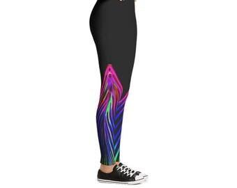 Electric Strip Lights Leggings | Women Leggings | Yoga Leggings | Fitness Leggings | Beautiful Leggings | Casual Leggings | Pilates Leggings