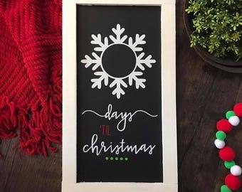 Days 'til Christmas chalkboard sign
