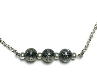 crackled glass, black glass, beaded jewelry, jewelry set, under 25 dollars, smokey bead, beaded earrings, beaded necklace, nickel free