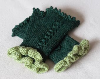 Green Fingerless Gloves, Dark Green Hand Knitted Wool Mittens with a Lime Wrist, Womens Gloves, Hand Knit Winter Gloves, Gift For Her
