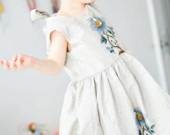 Girl dresess, rusty flower, dress children, dress kids dresses, princess dresses, sleeveless dress, cruise dress, blue Flores, vintage dress
