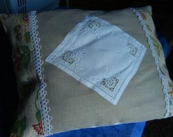 cushion shabby embroidery richelieu linen 42/55 cms