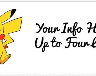 30 Customized Cute Pokemon Pikachu Address Labels! ANY info you want!