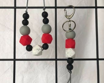 Silicone Necklace & Keyring Set - Red and Black