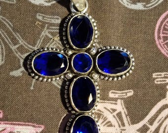 Sterling Silver and Blue Sapphire cross
