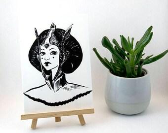 Padme Amidala Star Wars Marylou Deserson Illustration _ _ Fanart postcard A6 card