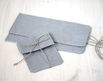 Light blue natural linen favor bags - Linen bags for gifts