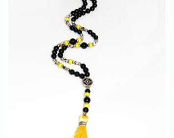 Black necklace, Yellow tassel, Long tassel necklace, Bead tassel necklace, Black and yellow, Tassel necklace, Long necklace, Modern necklace