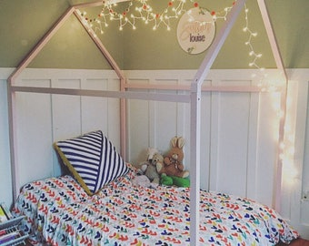Full Size house bed, tent bed, children bed, wooden house, wood house, wood nursery, kids teepee bed, wood bed frame, wood house bed