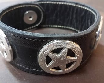 Leather Star Concho Bracelet