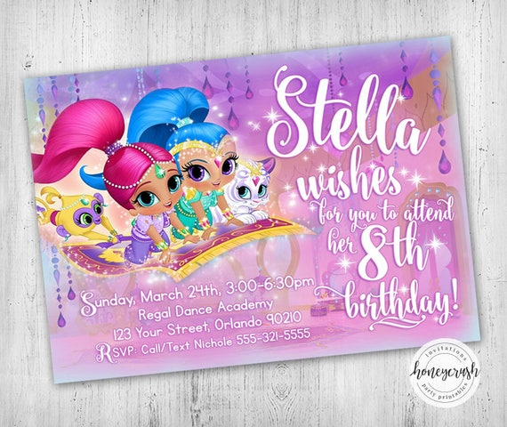 May The 4th Be With You Invitations: Shimmer And Shine Birthday Invitation Printable Digital File