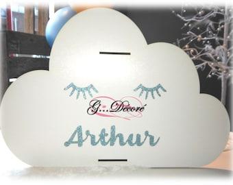 Box / piggy bank personalized wooden cloud