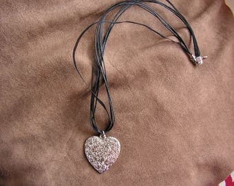 Silver metal heart pendant black organza Ribbon necklace