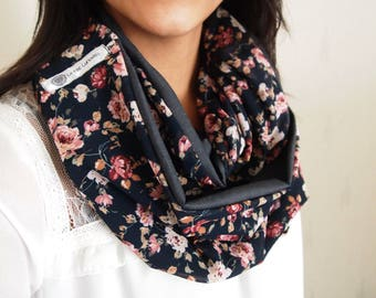 Snood double mid-season, patterns, floral, pink, blue jean and night