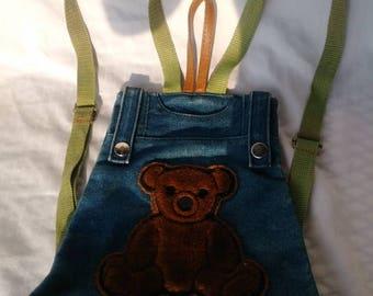 Adorable Denim Child's Teddy Bear Backpack