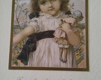 Vintage Greeting Card - Embossed Victorian Birthday Card - Ambassador Heirloom Classics - Little Girl with Doll