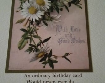 Vintage Greeting Card - Embossed Victorian Birthday Card - Ambassador Heirloom Classics - Daisies