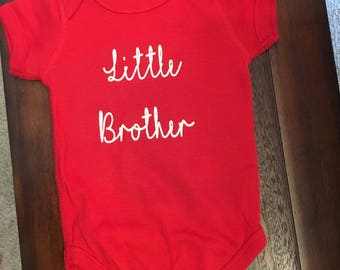 Big brother/sister, little brother/sister shirts. Made to order with your color preferences.