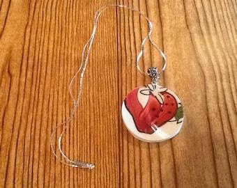 Broken China strawberry necklace